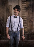 Young man from the past, with high-hat and bow-tie Royalty Free Stock Photography
