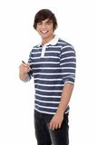 Young man with a pen. Stock Photography