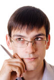 Young man with a pen. On white background Royalty Free Stock Photography