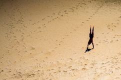 Young man performing a handstand on the sand stock images