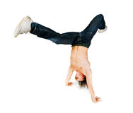 Young man performing parkour move Stock Images