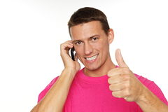 Young man with phone Stock Photos