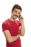 Young man on phone Stock Photography