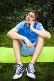 Young Man with a Phone stock images