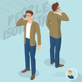 Young man phoning. Front and back view. Isometric 3d flat design vector people different characters, styles and professions, full length diverse acting poses Stock Photo