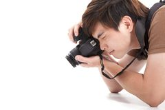 Young man with photo Royalty Free Stock Photography