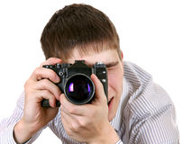 Young Man with Photo Camera Stock Photography