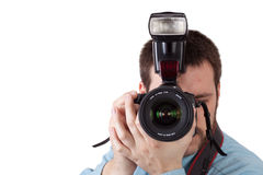Young man photographer Stock Images