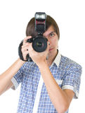 Young man photographer Stock Photo