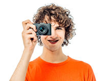 Young man photographer  holding camera portrait Stock Photography