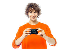 Young man photographer  holding camera portrait Stock Photo