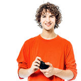 Young man photographer  holding camera portrait Royalty Free Stock Photos