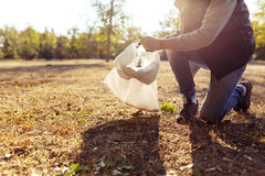 Young man picking up trash Stock Photo