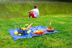 Young man on picnic alone Royalty Free Stock Images