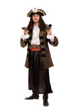 Young man in a pirate costume with pistol Royalty Free Stock Image