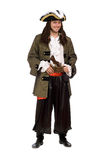 Young man in a pirate costume with pistol. Smiling young man in a pirate costume with pistol stock photo