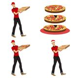 Young guy delivering pizza Stock Photography