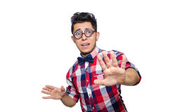 Young man in plaid shirt isolated on white Stock Images