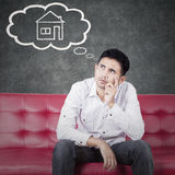 Young man planning have new house Stock Photo