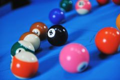 Young man play pro billiard game Royalty Free Stock Photography