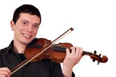 Young man play violin. Happy young man play violin Stock Image