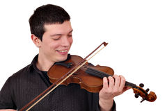 Young man play violin. On white Stock Photo