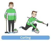 The young man, player in Curling  Royalty Free Stock Image