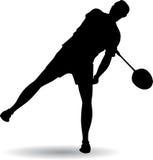 Young man playing badminton Royalty Free Stock Photos
