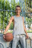 Young man playing basketball Stock Photo