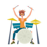 Young man playing drum set. Drummer, musician. Vector illustration,  on white background. Young man playing drum set. Drummer, percussion musician. Vector Stock Photography
