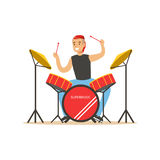 Young man playing on drums, guy behind the drum kit vector Illustration Royalty Free Stock Photos