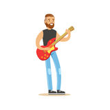 Young man playing electric guitar vector Illustration Royalty Free Stock Photography