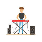 Young man playing electric piano vector Illustration Royalty Free Stock Photography