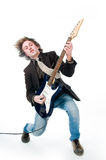 Young man playing electro guitar. Isolated on white background Royalty Free Stock Images
