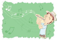 Young man playing flute Stock Image