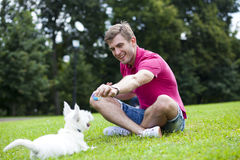 Young man playing with his dog in the park royalty free stock photo