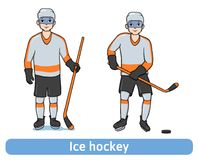 Young Man playing hockey. Hockey player with a stick standing and in motion. Winter sport, active recreation. Vector. Illustration, isolated on white background Stock Image