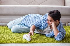 The young man playing with pet rabbit at home. Young man playing with pet rabbit at home Royalty Free Stock Images