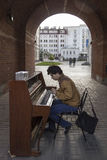 Young man playing the piano in the street,kazan,russian federation Stock Photo