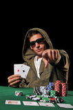 Young man playing poker Royalty Free Stock Photo