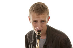 Young man playing sax Royalty Free Stock Image