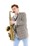 Young man playing the sax Stock Photos