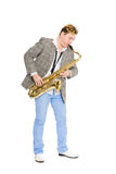 Young man playing the sax. Stock Photography