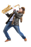 Young man playing on saxophone Royalty Free Stock Photos