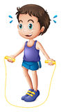 A young man playing with the skipping rope. Illustration of a young man playing with the skipping rope on a white background Royalty Free Stock Photography
