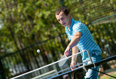 Young man playing table tennis Royalty Free Stock Image