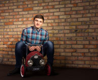 Young Man Playing with Toy Automobile Royalty Free Stock Photography