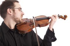 Young man playing the violin Stock Photos