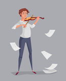 The young man is playing the violin. Stock Images