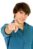 Young man pointing Stock Image